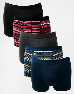 ASOS 5 Pack Trunks With Aztec Print