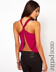 ASOS PETITE Exclusive Cami Top With Knot Detail And Open Back