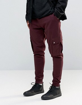 ASOS Tapered Joggers With Cargo Pockets In Burgundy