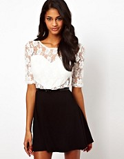 Paprika Heart Lace Belted Skater Dress