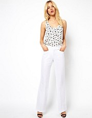 ASOS Linen Trousers In Wide Leg