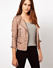 Warehouse Leather Look Collarless Jacket