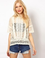 River Island Oversized Crochet Tee
