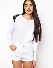 The Ragged Priest Crop Sweatshirt with Stud Shoulder