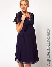 ASOS Maternity Fluted Sleeve Midi Dress With Embellishment