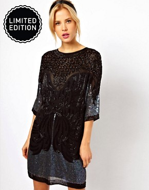Image 1 ofASOS Shift Dress With Baroque Beading