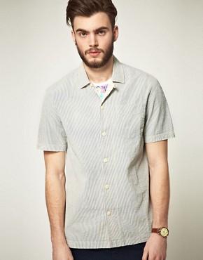 Image 1 ofASOS Short Sleeve Stripe Shirt