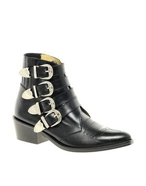 Image 1 ofToga Pulla Black Buckle Ankle Boots