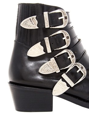 Image 2 ofToga Pulla Black Buckle Ankle Boots