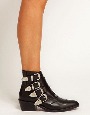 Image 3 ofToga Pulla Black Buckle Ankle Boots