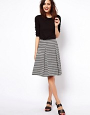 ASOS Midi Skirt in Ponte Stripe