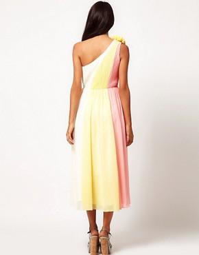 Image 2 ofRare Chiffon One Shoulder Midi Skater Dress