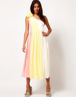 Image 4 ofRare Chiffon One Shoulder Midi Skater Dress