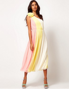 Image 1 ofRare Chiffon One Shoulder Midi Skater Dress