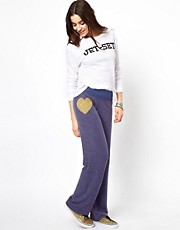 Pantalones de chndal con corazn dorado de Wildfox