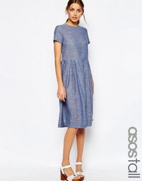 ASOS TALL Chambray Spot Midi Dress