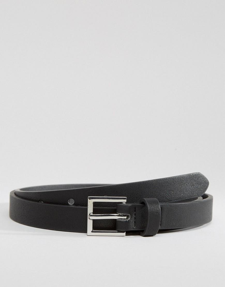 ASOS DESIGN smart faux leather super skinny belt in black