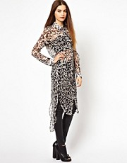 Unconditional Long Silk Shirt Dress with Split Tail