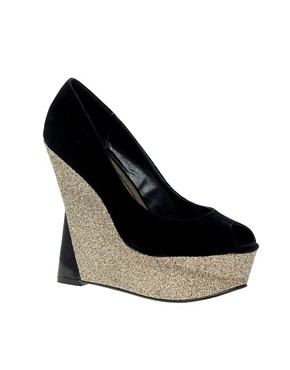 Image 1 ofLondon Rebel Contrast Glitter Wedge Shoe