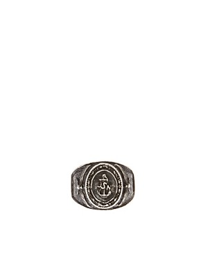 Image 2 ofASOS Navy Emblem Ring