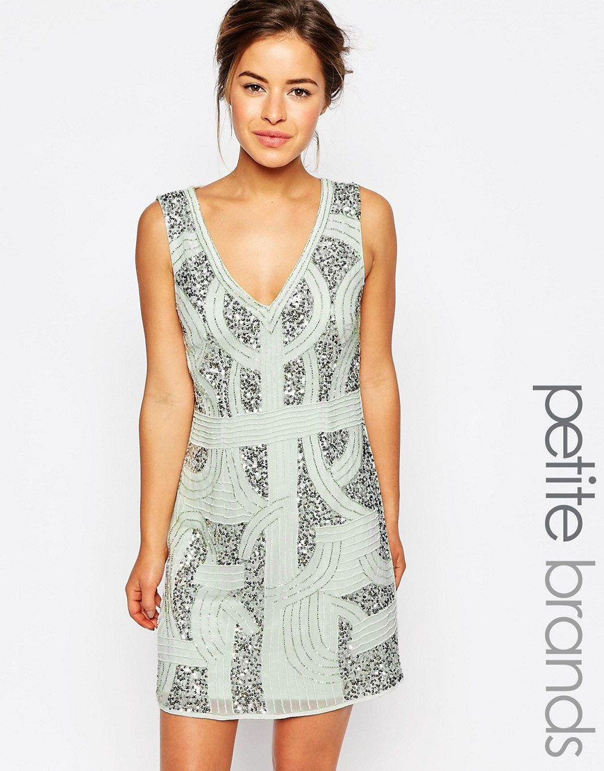 Maya Petite Beaded Shift Dress - Green