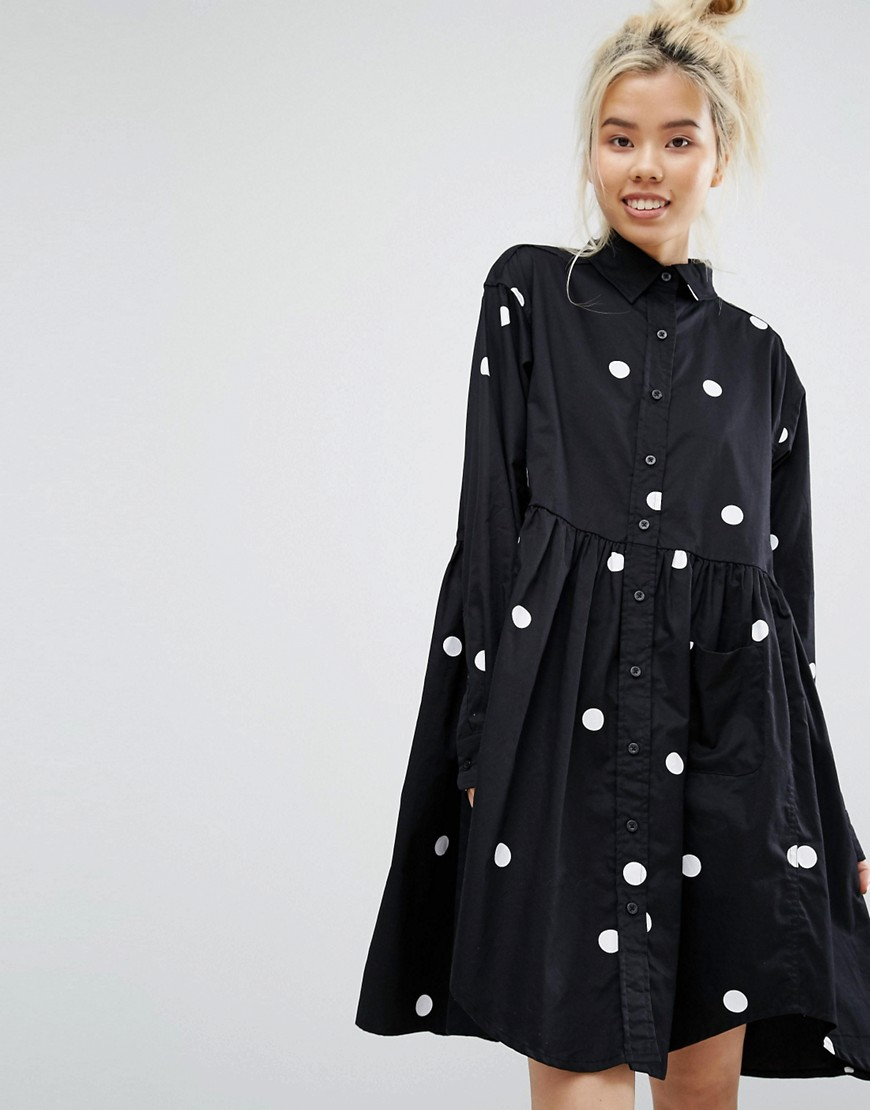 Lazy Oaf Mono Big Dot Oversized Shirt Smock Dress - Black