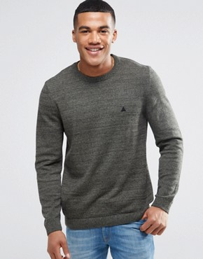 ASOS Crew Neck Jumper in Khaki Twist Cotton with Logo