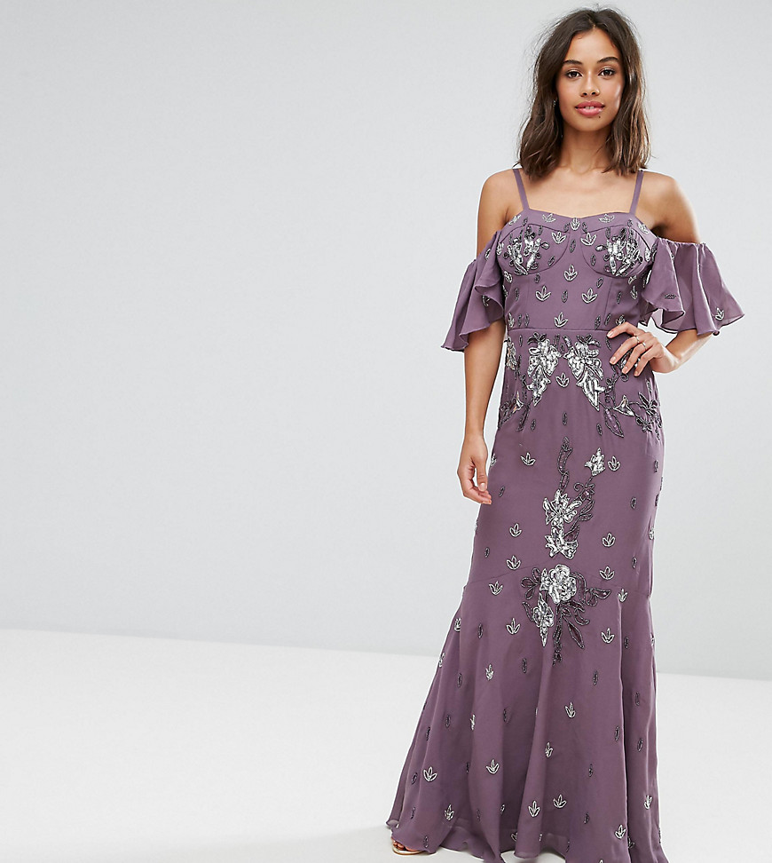 Maya Petite All Over Embellished Corset Top Maxi Dress With Cold Shoulder