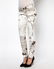 Religion Marble Print Skinny jeans