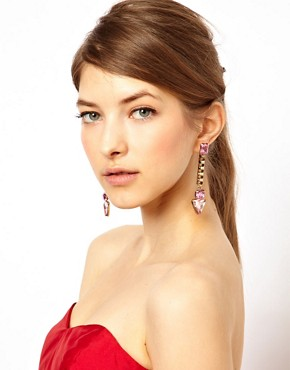 Image 2 ofASOS Jewel Triangle Drop Earrings