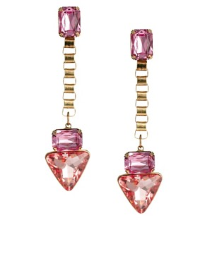 Image 1 ofASOS Jewel Triangle Drop Earrings