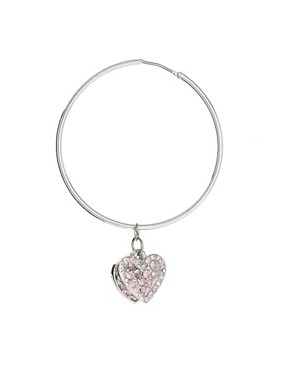 Image 3 ofLipsy Pave Heart Charm Hoop Earring