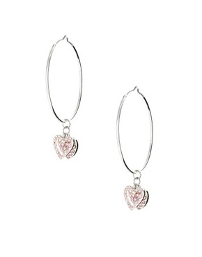 Image 1 ofLipsy Pave Heart Charm Hoop Earring