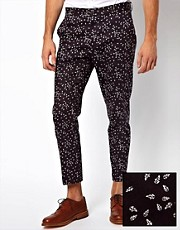 ASOS Skinny Fit Smart Trousers in Leaf Print