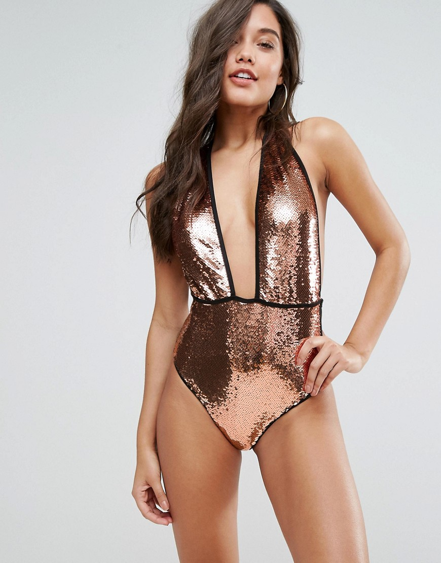 PrettyLittleThing Bronze Sequin Swimsuit