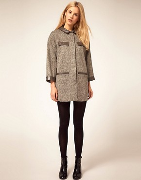 Image 4 ofASOS Cocoon Coat With Faux Leather Collar