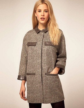 Image 1 ofASOS Cocoon Coat With Faux Leather Collar