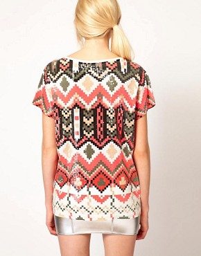 Image 2 of Sass And Bide The Kingdom Tee In Pixilated Tribal Print