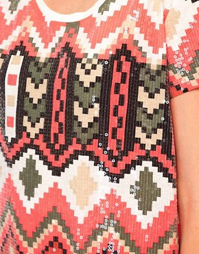 Image 3 of Sass And Bide The Kingdom Tee In Pixilated Tribal Print