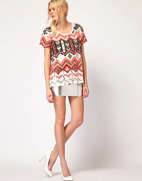 Image 4 of Sass And Bide The Kingdom Tee In Pixilated Tribal Print