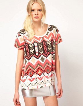 Image 1 of Sass And Bide The Kingdom Tee In Pixilated Tribal Print