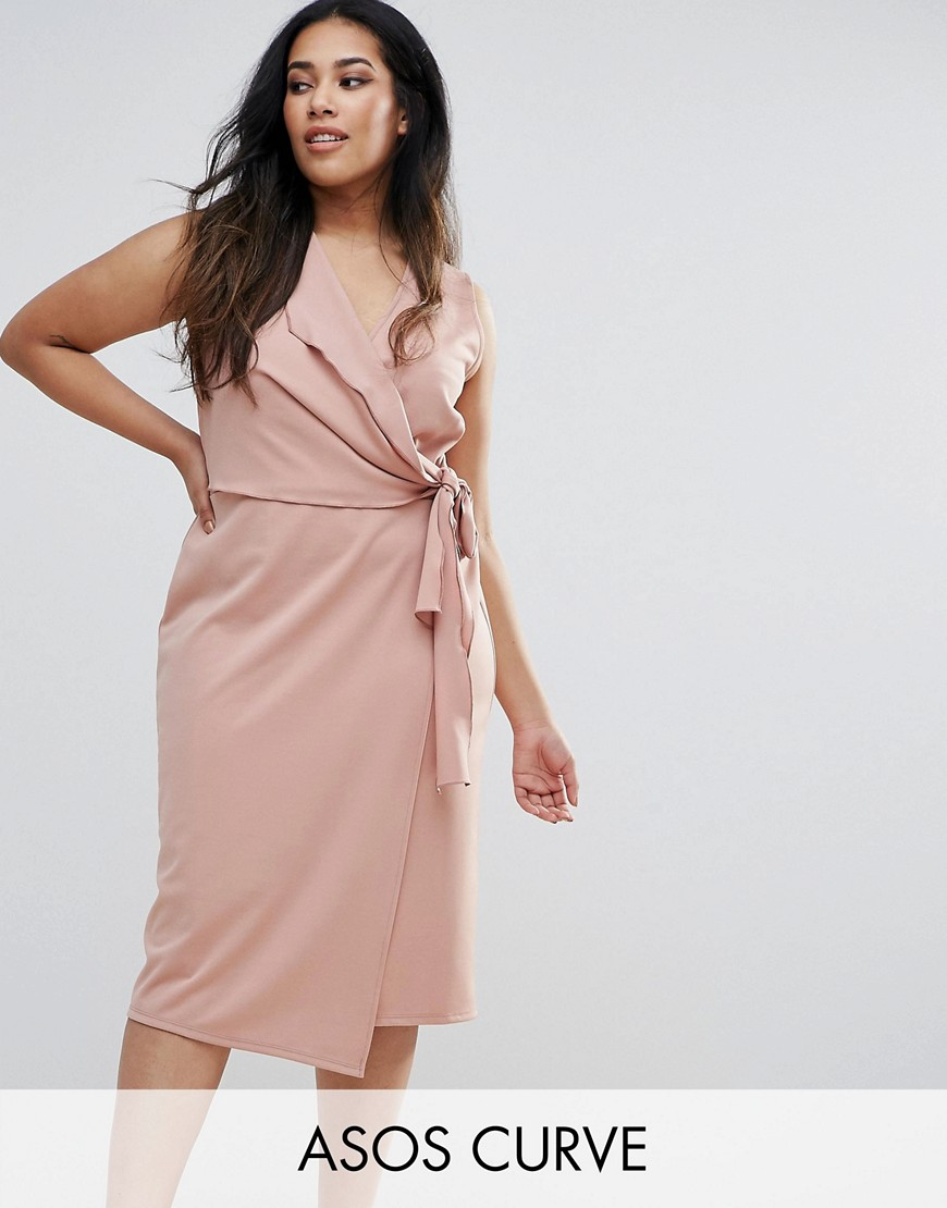 ASOS CURVE Wrap Front Midi Pencil Dress with Tie Detail - Pink