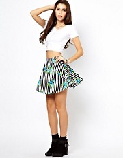 ASOS Skater Skirt in Stripe and Floral Print
