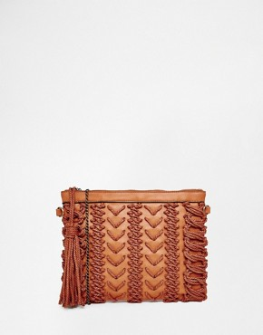 Street Level Textured Clutch with Tassel Detail