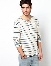 Levis Vintage Long Sleeve Top 1920's Henley Stripe