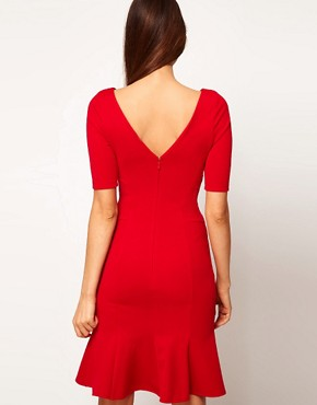 Image 2 ofASOS PETITE Exclusive Seamed Bodycon Dress With Trumpet Hem