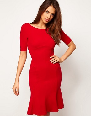 Image 4 ofASOS PETITE Exclusive Seamed Bodycon Dress With Trumpet Hem