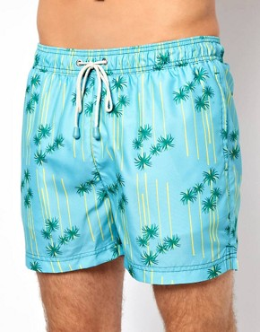 Image 1 ofOiler &amp; Boiler Palm Print Classic Swim Shorts