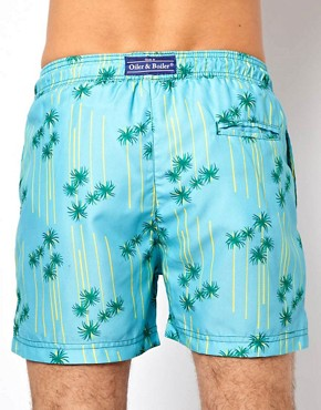 Image 2 ofOiler &amp; Boiler Palm Print Classic Swim Shorts