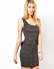 Oasis Jacquard Peplum Dress